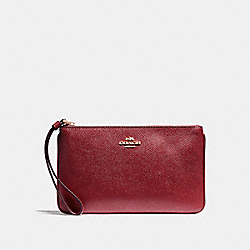 COACH F57465 Large Wristlet In Crossgrain Leather LIGHT GOLD/CRIMSON