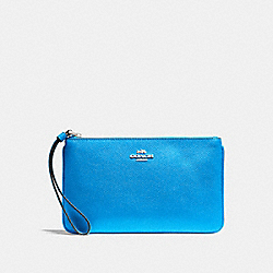 COACH F57465 Large Wristlet BRIGHT BLUE/SILVER