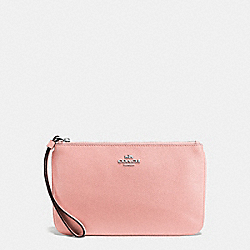 COACH F57465 Large Wristlet In Crossgrain Leather SILVER/BLUSH