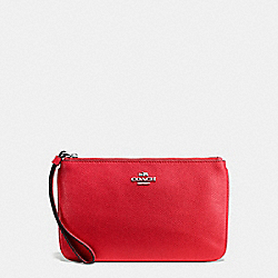 COACH F57465 Large Wristlet In Crossgrain Leather SILVER/BRIGHT RED