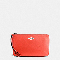 COACH F57465 Large Wristlet In Crossgrain Leather SILVER/BRIGHT ORANGE