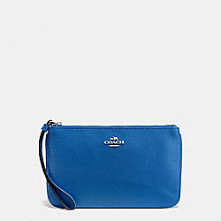 COACH F57465 Large Wristlet In Crossgrain Leather SILVER/LAPIS