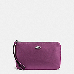 COACH F57465 - LARGE WRISTLET IN CROSSGRAIN LEATHER SILVER/MAUVE
