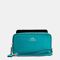 COACH F57467 Double Zip Phone Wallet In Crossgrain Leather SILVER/TURQUOISE