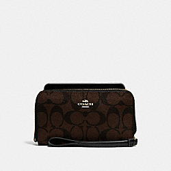 COACH F57468 Phone Wallet In Signature Coated Canvas IMITATION GOLD/BROWN/BLACK