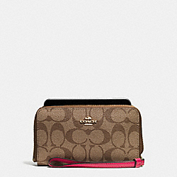 COACH F57468 Phone Wallet In Signature Coated Canvas IMITATION GOLD/KHAKI/BRIGHT PINK