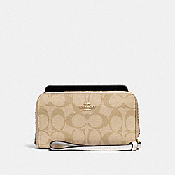 COACH F57468 Phone Wallet In Signature Coated Canvas IMITATION GOLD/LIGHT KHAKI/CHALK