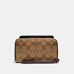 COACH F57468 Phone Wallet In Signature Coated Canvas LIGHT GOLD/KHAKI