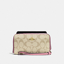 COACH F57468 Phone Wallet In Signature Canvas LIGHT KHAKI/VINTAGE PINK/IMITATION GOLD