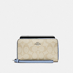 PHONE WALLET IN SIGNATURE CANVAS - f57468 - LIGHT KHAKI/POOL/SILVER