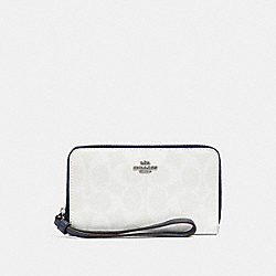 COACH F57468 Phone Wallet In Signature Canvas CHALK/MIDNIGHT/SILVER
