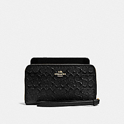 COACH F57469 Phone Wallet In Signature Debossed Patent Leather IMITATION GOLD/BLACK