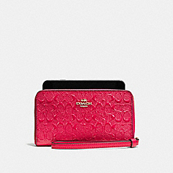 COACH F57469 Phone Wallet In Signature Debossed Patent Leather IMITATION GOLD/BRIGHT PINK