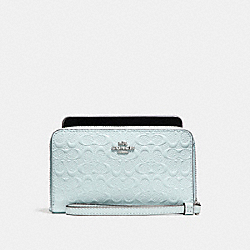 COACH F57469 Phone Wallet In Signature Debossed Patent Leather SILVER/AQUA