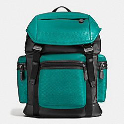 COACH F57477 - TERRAIN TREK PACK IN PERFORATED MIXED MATERIALS SEAGREEN/BLACK