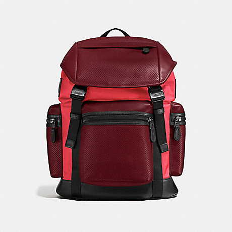 COACH f57477 TERRAIN TREK PACK IN PERFORATED MIXED MATERIALS BRICK RED/BRIGHT RED