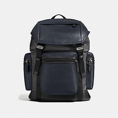 COACH f57477 TERRAIN TREK PACK IN PERFORATED MIXED MATERIALS MIDNIGHT NAVY/GRAPHITE