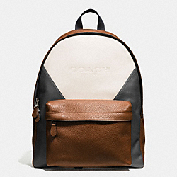 COACH CHARLES BACKPACK IN PATCHWORK LEATHER - CHALK/GRAPHITE/DARK SADDLE - F57482
