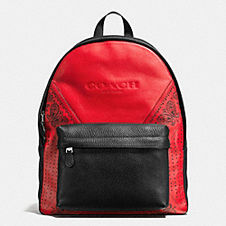 COACH CHARLES BACKPACK IN PATCHWORK LEATHER - RED/BLACK BANDANA - F57482