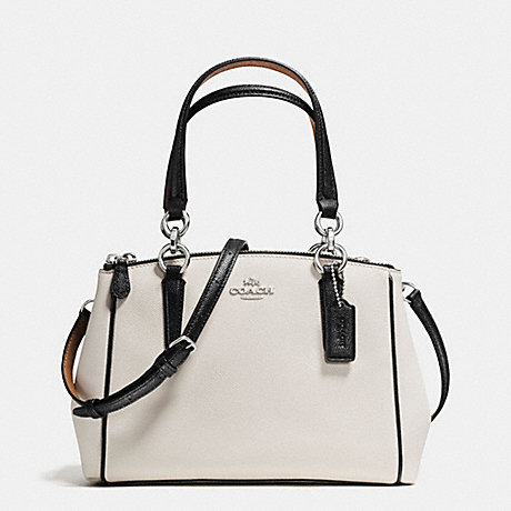 9397a0b6df0d COACH f57487 MINI CHRISTIE CARRYALL WITH CONTRAST TRIM IN CROSSGRAIN LEATHER  SILVER CHALK MULTI