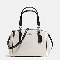 COACH F57487 - MINI CHRISTIE CARRYALL WITH CONTRAST TRIM IN CROSSGRAIN LEATHER SILVER/CHALK MULTI