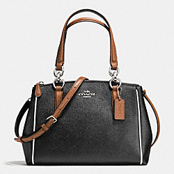 COACH F57487 - MINI CHRISTIE CARRYALL WITH CONTRAST TRIM IN CROSSGRAIN LEATHER SILVER/BLACK MULTI