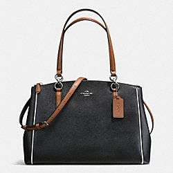 COACH F57488 - CHRISTIE CARRYALL WITH CONTRAST TRIM IN CROSSGRAIN LEATHER SILVER/BLACK MULTI