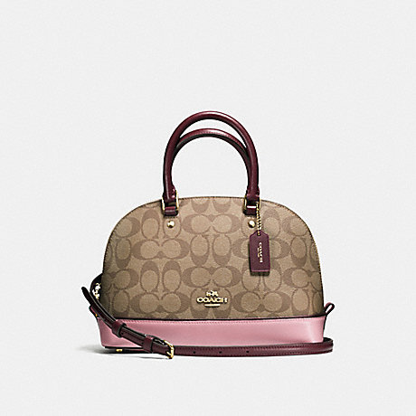 fa2404a84180 COACH f57493 MINI SIERRA SATCHEL IN COLORBLOCK SIGNATURE IMITATION  GOLD KHAKI OXBLOOD MULTI