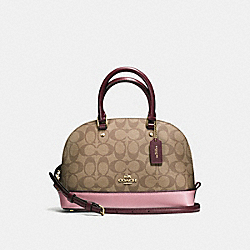 COACH F57493 Mini Sierra Satchel In Colorblock Signature IMITATION GOLD/KHAKI OXBLOOD MULTI