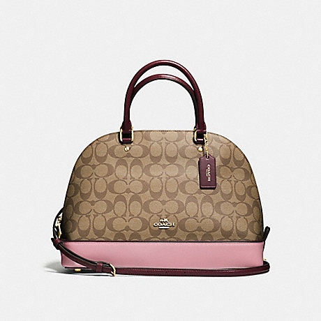51652bd1f690 COACH f57494 SIERRA SATCHEL IN COLORBLOCK SIGNATURE IMITATION GOLD KHAKI  OXBLOOD MULTI