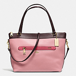 COACH F57496 Tyler Tote In Geometric Colorblock Polished Pebble Leather IMITATION GOLD/STRAWBERRY/OXBLOOD MULTI