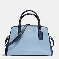 SMALL MARGOT CARRYALL IN GEOMETRIC COLORBLOCK CROSSGRAIN LEATHER - f57497 - SILVER/MIDNIGHT BLUE MULTI