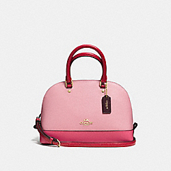 COACH F57499 Mini Sierra Satchel In Geometric Colorblock Crossgrain Leather IMITATION GOLD/STRAWBERRY/OXBLOOD MULTI