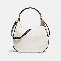 COACH F57500 Harley Hobo In Geometric Colorblock Polished Pebble Leather IMITATION GOLD/CHALK FOG MULTI