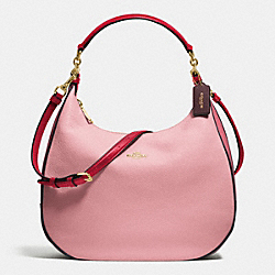 COACH HARLEY HOBO IN GEOMETRIC COLORBLOCK POLISHED PEBBLE LEATHER - IMITATION GOLD/STRAWBERRY/OXBLOOD MULTI - F57500