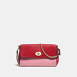 COACH RUBY CROSSBODY IN GEOMETRIC COLORBLOCK CROSSGRAIN LEATHER - IMITATION GOLD/STRAWBERRY/OXBLOOD MULTI - F57501