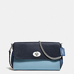 RUBY CROSSBODY IN GEOMETRIC COLORBLOCK CROSSGRAIN LEATHER - f57501 - SILVER/MIDNIGHT BLUE MULTI