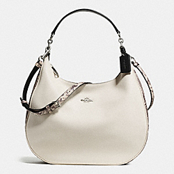 COACH F57503 - HARLEY HOBO WITH SNAKE EMBOSSED LEATHER TRIM SILVER/CHALK MULTI