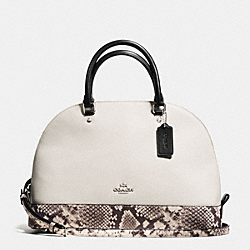 SIERRA SATCHEL WITH SNAKE EMBOSSED LEATHER TRIM - f57504 - SILVER/CHALK MULTI