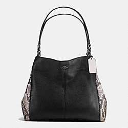 COACH LEXY SHOULDER BAG WITH SNAKE EMBOSSED LEATHER TRIM - ANTIQUE NICKEL/BLACK MULTI - F57505