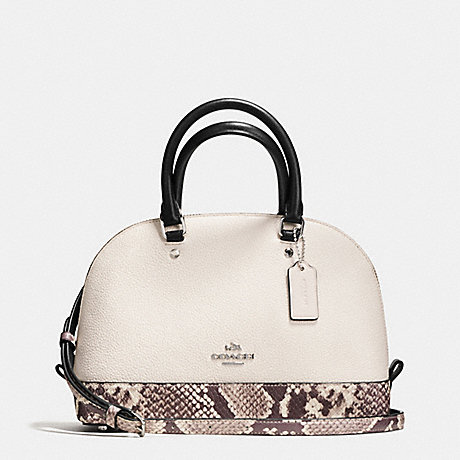 COACH F57506 MINI SIERRA SATCHEL WITH SNAKE EMBOSSED LEATHER TRIM SILVER/CHALK-MULTI