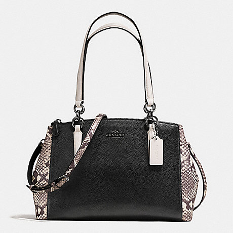 COACH f57507 SMALL CHRISTIE CARRYALL WITH SNAKE EMBOSSED LEATHER TRIM ANTIQUE NICKEL/BLACK MULTI