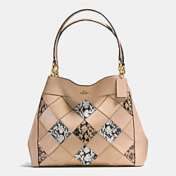 LEXY SHOULDER BAG IN SNAKE PATCHWORK LEATHER - f57509 - IMITATION GOLD/BEECHWOOD MULTI