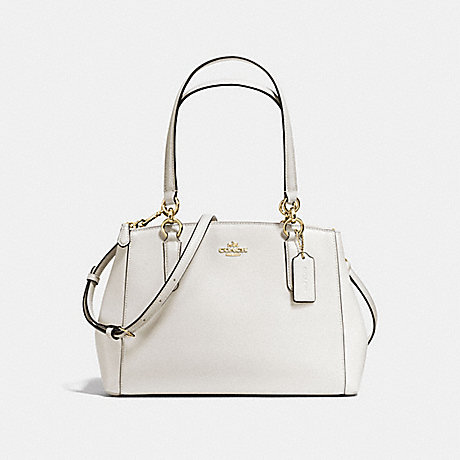 COACH f57520 SMALL CHRISTIE CARRYALL IN CROSSGRAIN LEATHER IMITATION GOLD/CHALK