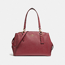 SMALL CHRISTIE CARRYALL IN CROSSGRAIN LEATHER - f57520 - LIGHT GOLD/CRIMSON