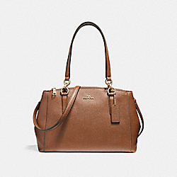 SMALL CHRISTIE CARRYALL IN CROSSGRAIN LEATHER - f57520 - LIGHT GOLD/SADDLE 2