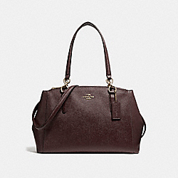 SMALL CHRISTIE CARRYALL IN CROSSGRAIN LEATHER - f57520 - LIGHT GOLD/OXBLOOD 1