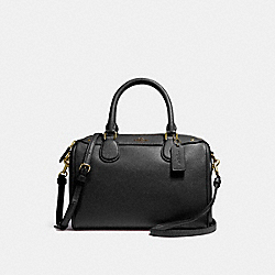 COACH F57521 Mini Bennett Satchel In Crossgrain Leather IMITATION GOLD/BLACK