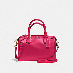COACH F57521 Mini Bennett Satchel In Crossgrain Leather IMITATION GOLD/BRIGHT PINK