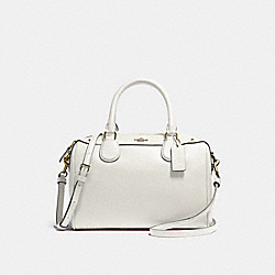 MINI BENNETT SATCHEL IN CROSSGRAIN LEATHER - f57521 - LIGHT GOLD/CHALK